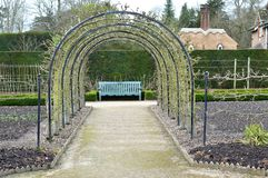 Garden arch over a path supporting fruit trees. Metal arch supporting t trees over a gravel path in a vegetable garden Stock Photo