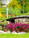 Garden Arched Bridge. Little artificial pond and flowers in the garden Stock Images