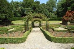 Garden archway. garden pathway. garden Stock Image