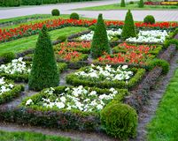 Garden art. The city park city of Stavropol is a fine example of art park. Flower carpets in different colors and shapes, striking in its beauty Royalty Free Stock Photos
