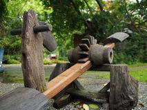 Garden art. Wooden horse toys in garden art Stock Photography