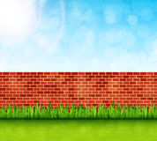 Garden background with brick wall and green grass vector Stock Images