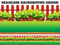 Garden background with flowers and lawn Royalty Free Stock Image