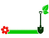 Garden background with shovel, grass, flower, leaf Royalty Free Stock Photos