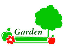 Garden background with tree, flower, green grass Royalty Free Stock Photography
