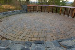 Garden Backyard Circular Brick Paver Patio Royalty Free Stock Image