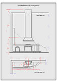 Garden barbecue fireplace, 2d sketch. Example of garden fireplace arrangement. Two-dimensional drawing in one JPG file Stock Photography