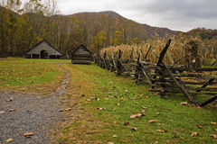 Garden, Barn, Oconaluftee Pioneer Homestead. Great Smoky Mountains National Park, NC stock images