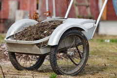 Garden barrow. Full of old leaves and branches Royalty Free Stock Photography