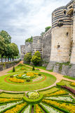Garden and bastions of fortress in Angers Royalty Free Stock Photography