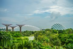 GARDEN BY THE BAY / SINGAPORE, 30 APR 2018 - View of Supertree Landmark at night royalty free stock image