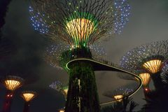 GARDEN BY THE BAY / SINGAPORE, 30 APR 2018 - View of Supertree Landmark at night royalty free stock photography