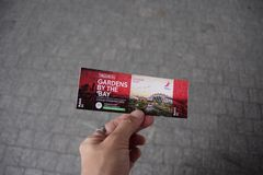 Garden by the bay , Singapore - September 15,2018 The ticket at Garden by the bay singapore stock photos