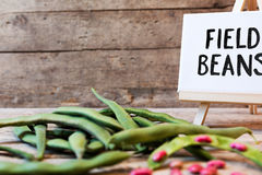 Garden beans on wooden table Stock Photography