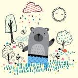 Garden bear illustration Royalty Free Stock Photo
