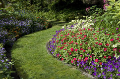 Garden. With beautiful flowers and design Royalty Free Stock Photo