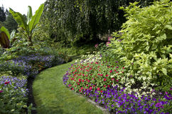 Garden. With beautiful flowers and design Stock Photo