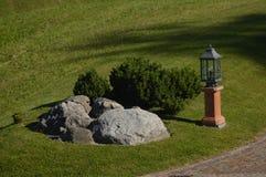 Garden. Beautiful neat garden at the entrance of a villa stock image