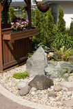 Garden bed. Newly planted garden bed, rock Stock Photos