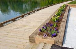 Garden bed beside lake Stock Image