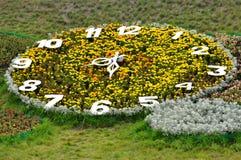 Garden-bed like a big summer clock Tick-tack. Streets Royalty Free Stock Photos