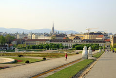 The garden of Belvedere Palace on the sunset, Vienna, Austria Stock Images