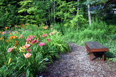 Garden Bench. A garden bench sits empty and abandoned next to a beautiful garden of day lilies royalty free stock image