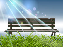 Garden Bench. Natural scene, empty Garden Bench and clear sky Royalty Free Stock Photo