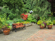 Garden bench. Surrounded by lush spring vegetation stock photo