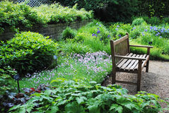 Garden_with_bench_3.jpg. Outdoor garden patio with colorful floral background and bench Royalty Free Stock Images