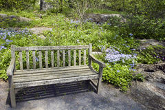 Garden Bench. Rocky garden with flowers and a wooden bench stock image