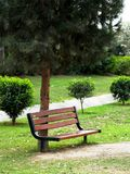 Garden Bench. An empty bench in a garden Royalty Free Stock Photography