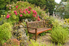 Garden bench. Bench taken in garden in scotland Stock Photo