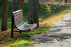 Garden bench in park area Royalty Free Stock Photography
