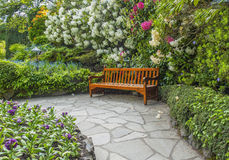 Garden bench. Surrounded by lush spring vegetation Stock Photos