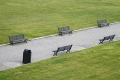 Garden benches on a city park Royalty Free Stock Photography
