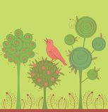 Garden with bird. Background with green garden and pink bird Stock Images