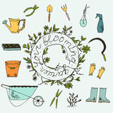 Garden. Blooming garden hand drawn elements. Vector garden work tools isolated Royalty Free Stock Photo