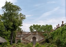 The Garden of the Boixos in Labyrinth Park of Horta stock photo