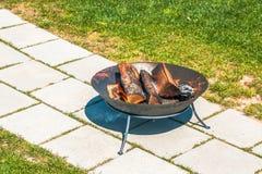 Garden bonfire in a garden Stock Images