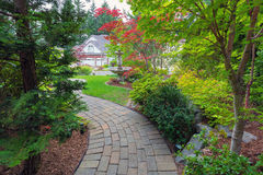 Garden Brick Path in Frontyard Stock Image