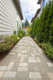 Garden Brick Paver Path Walkway with Arbor Royalty Free Stock Photo
