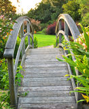 Garden bridge. A colorful garden bridge in the evening sun light Stock Images