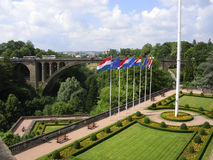 Garden and bridge Luxembourg city. Garden and Adolphe bridge over Petrusse valley in Luxembourg city stock photos