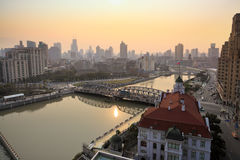 The garden bridge in shanghai at dusk Royalty Free Stock Image