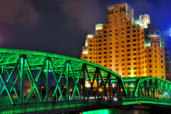 Garden bridge of Shanghai in night lighting. Night view of famous Garden bridge of Shanghai and old shanghai hotel building, as  historical buildings beside Royalty Free Stock Images