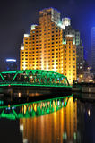 Garden bridge of Shanghai, and old building Stock Photography
