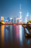 Garden bridge and shanghai skyline at night Stock Photography