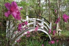 Garden Bridge. White arched bridge over water in low country garden Stock Photos
