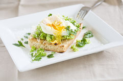 Garden broad beans with poached egg Royalty Free Stock Photo